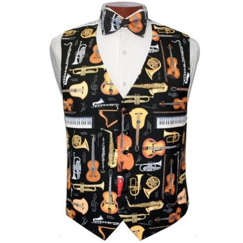 Musical Instruments Vest and Tie Set