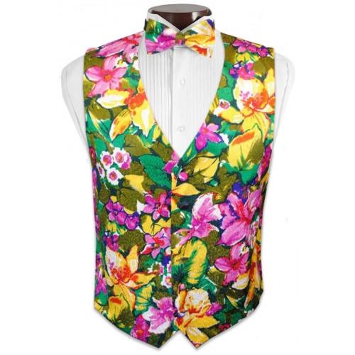 Floral Jacquard Tuxedo Vest and Tie Set