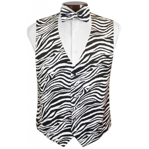 Bold Zebra Tuxedo Vest and Tie Set