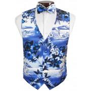 Blue Hawaiian Vest and Tie Set