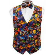 Hawaiian Tropical Fish Tuxedo Vest and Tie Set