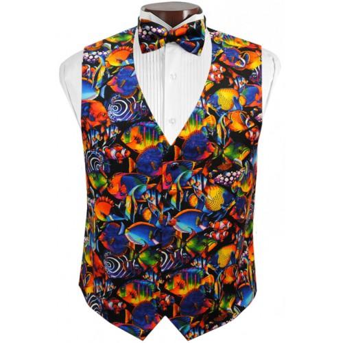 Hawaiian Tropical Fish Tuxedo Vest and Tie Set