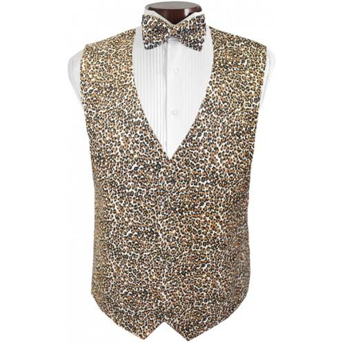 Cheetah Tuxedo Vest and Tie