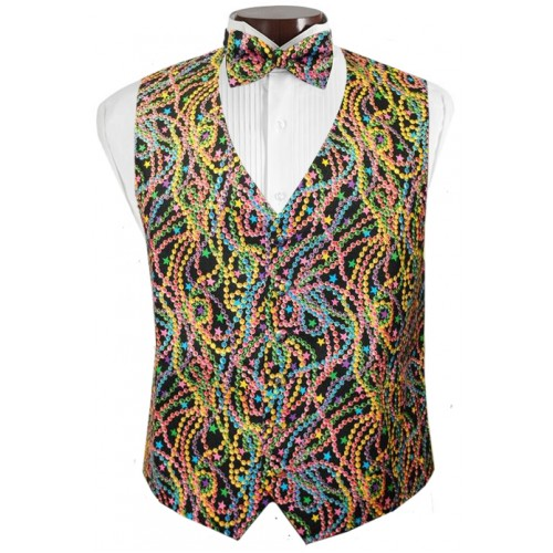 Big Easy Beads Mardi Gras Vest and Tie