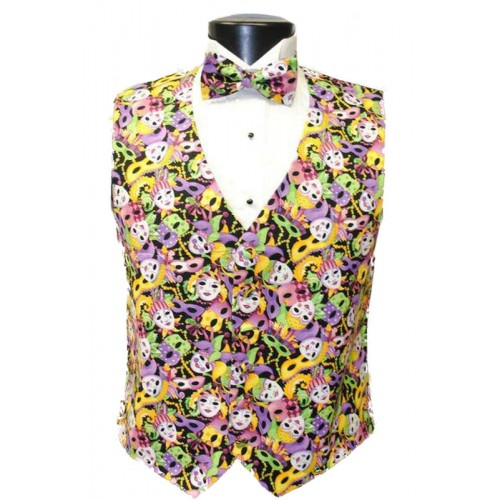 Big Easy Masks Mardi Gras Tuxedo Vest and Tie Set