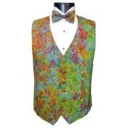 Mardi Gras Batik Vest and Bow Tie Set