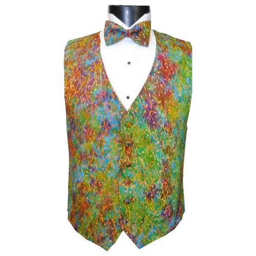 Mardi Gras Batik Vest and Bow Tie Set