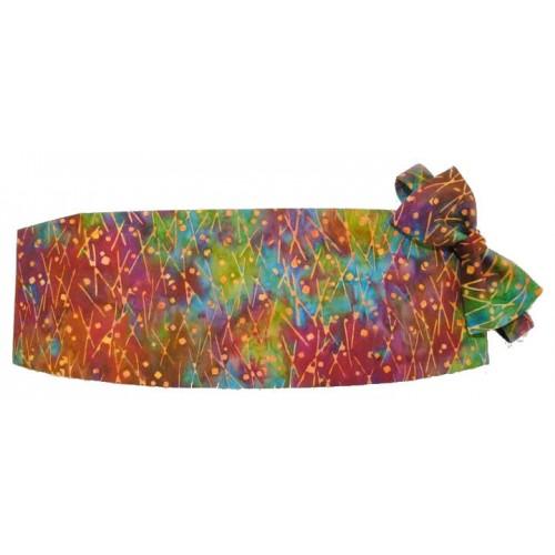 Mardi Gras Batik Cummerbund and Bow Tie Set