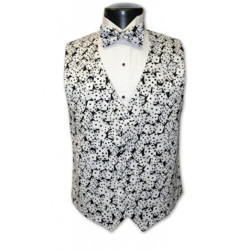 Las Vegas Black and White Dice Vest and Tie Set