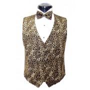 Brown Leopard Vest and Bow Tie Set
