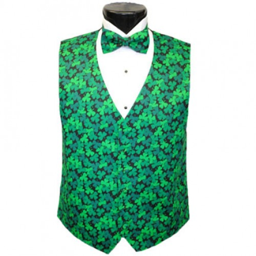 Emerald Shamrocks Tuxedo Vest and Bow Tie Set