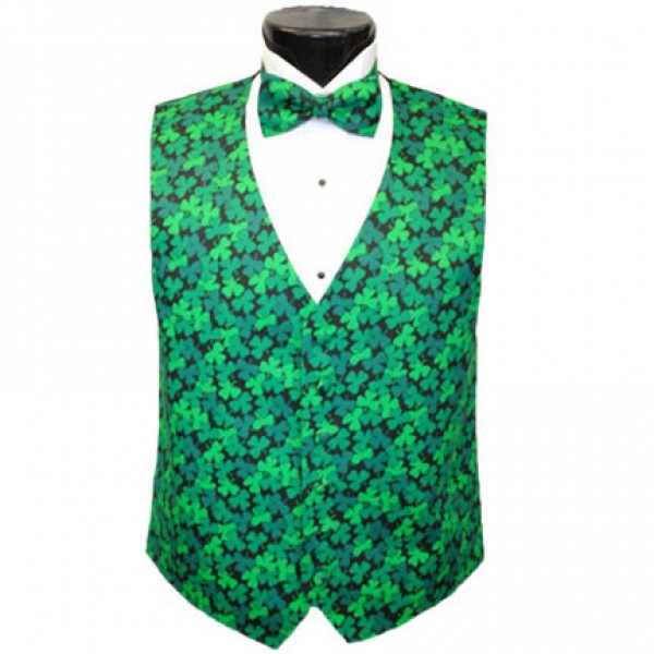 Shimmering Shamrocks Tuxedo Cummerbund and Bow Tie