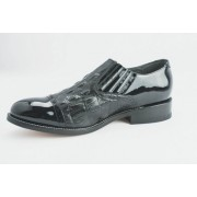 Black Hornback Alligator Print Captoe Slip On Tuxedo Shoes