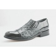 Grey Hornback Alligator Print Captoe Slip On Tuxedo Shoes