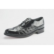Black Horn Back Alligator Print Cap Toe Lace Tuxedo Shoes