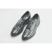 Grey Horn Back Alligator Print Cap Toe Lace Tuxedo Shoes