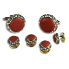 Round Austrian Crystal Cuff Link Set (Enamel Center)