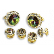 Round Austrian Crystal Cuff Link Set (Stone Center)