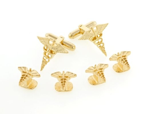 Caduceus Cufflinks and Studs