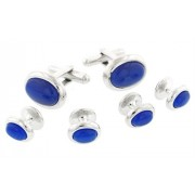 Dark Blue Cats Eye Cufflinks and Studs