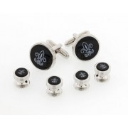 Black Onyx Fleur De Lis Cufflinks and Studs
