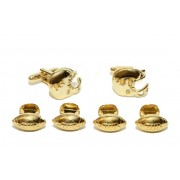 Gold Football Helmets and Footballs Studs and Cufflinks