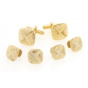 Interlocking Diagonal Pattern Cufflinks and Studs