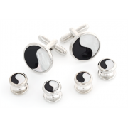 Mother of Pearl and Onyx Ying and Yang Cufflinks and Studs