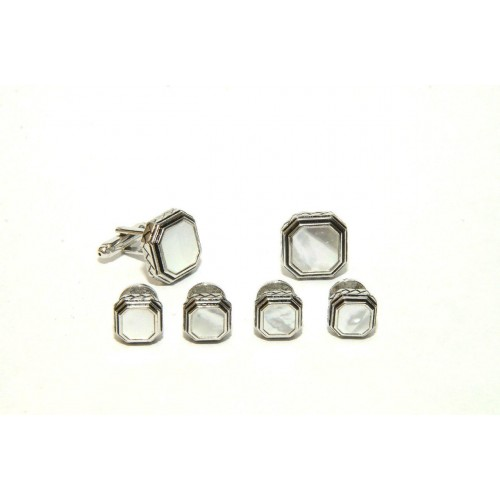 Antiqued Etched Octagon Mother of Pearl Studs and Cufflinks