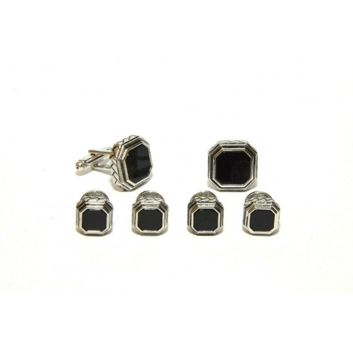 Antiqued Etched Octagon Black Onyx Studs and Cufflinks