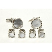 Fluted Diamond Cufflinks and Studs (Mother of Pearl Center)