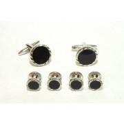 Fluted Diamond Cufflinks and Studs (Onyx Center)