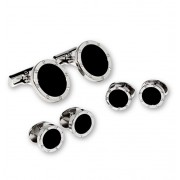Screw Head Border Silver Plate with Black Onyx Center Studs and Cufflinks Set
