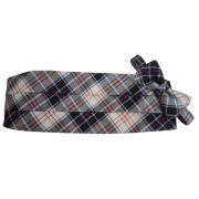 Buckingham White Tartan Plaid Cummerbund and Bow Tie