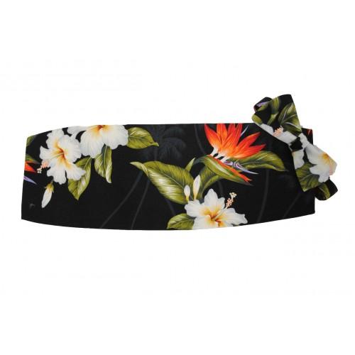 Hawaiian Flowers of Paradise Cummerbund and Bow Tie Set