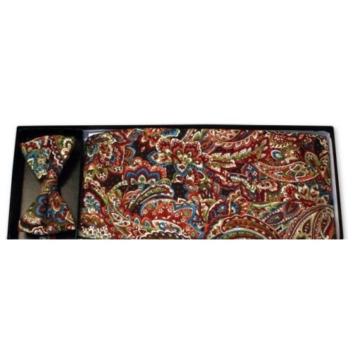 Multi-Color Paisley Cummerbund and Tie Set