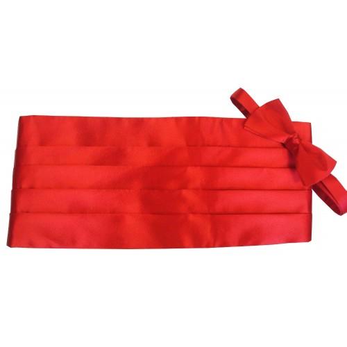 Big and Tall Red Silk Cummerbund and Bow Tie Set