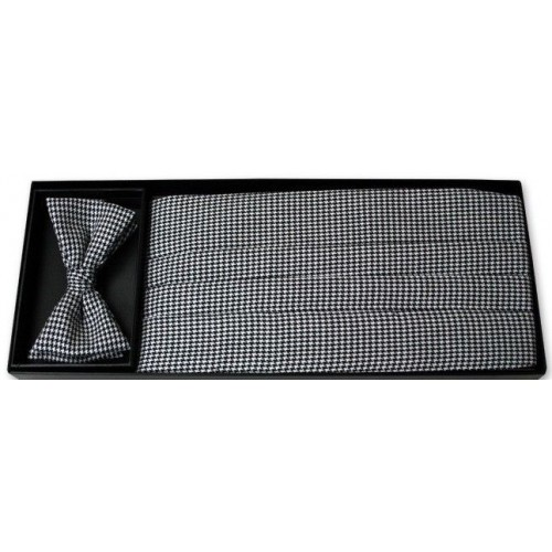 Black and White Houndstooth Cummerbund and Bow Tie Set