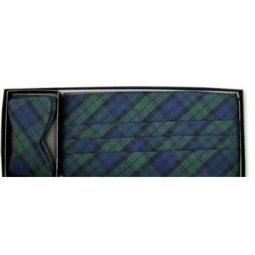Black Watch Plaid Cummerbund and Self-tie Bow Tie