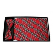 Christmas Red Plaid Cummerbund and Tie
