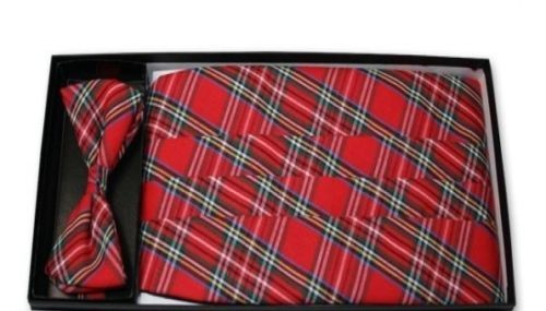 Christmas Red Plaid Cummerbund and Tie