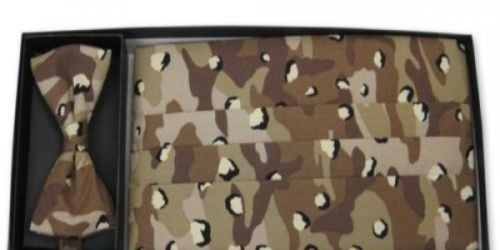 Desert Camo Cummerbund and Bow Tie Set, all cotton