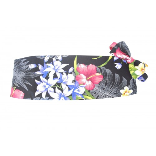 Hawaiian Tropical Floral Garden Cummerbund and Bow Tie Set