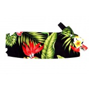 Hawaiian Plumeria and Red Bird of Paradise Cummerbund and Bow Tie Set