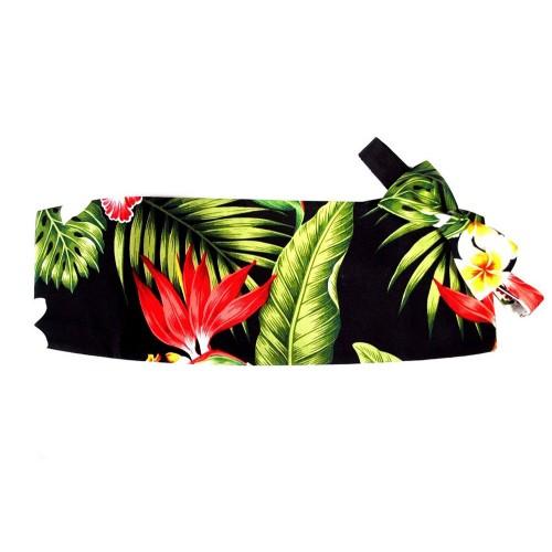 Hawaiian Plumeria and Red Bird of Paradise Cummerbund and Bow Tie Set