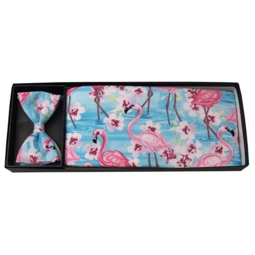 Flamingos and Flowers Cummerbund and Bow Tie Set