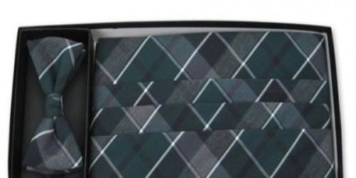 Grayson Plaid Cummerbund and Bow Tie Set, all cotton