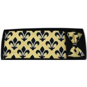 Mardi Gras Saints Black Fleur De Lis Cummerbund and Bow Tie