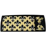 Mardi Gras Saints Black Fleur De Lis Cummerbund and Bow Tie