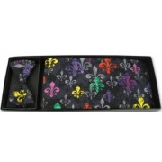 Mardi Gras Multi-Color Fleur De Lis Cummerbund and Bow Tie
